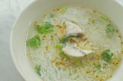 Gachas de avena asiáticas del estilo con los pescados Foto de archivo libre de regalías