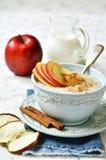 Gachas de avena de la avena con la manzana, la miel y el canela Imagen de archivo
