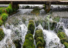 Gacka river. Small waterfall of Gacka river next to wooden track in Lika,Croatia Royalty Free Stock Photos