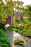 Gacka river spring watermill and historic ruins Royalty Free Stock Images