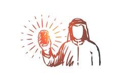 Gadżety, islam, islam, arab, prezentaci pojęcie Ręka rysujący odosobniony wektor royalty ilustracja