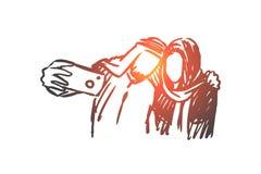 Gadżety, selfie, arab, para, przyjaciela pojęcie Ręka rysujący odosobniony wektor ilustracja wektor