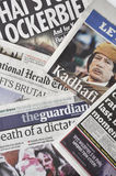 Gaddafi's death in the press Royalty Free Stock Photo