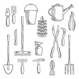 Gadening tools sketched icons set Royalty Free Stock Image