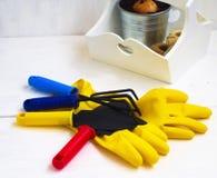 Gaderningshulpmiddelen en rubberhandschoenen Royalty-vrije Stock Afbeelding