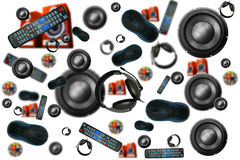 Gadget. Abstraction which depicts many headphones, speakers, computer mice Royalty Free Stock Photography