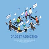 Gadget Addiction Isometric Concept. Internet smartphone gadget addiction isometric composition background with images of smartphone thought bubbles and people royalty free illustration