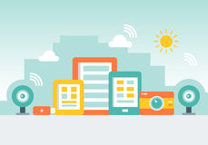 Gadget City Made of Cellphones, Tab, Cameras and Memory Sticks. Technology, Network and Lifestyle Concept. Flat Style Illustration Stock Photography