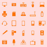 Gadget color icons on orange background Royalty Free Stock Images