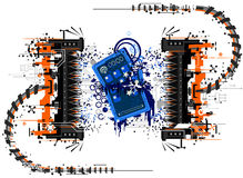 Gadget Crush. Mobile phone device crushed by press, symbolic abstract cartoon, vector, isolated Royalty Free Stock Photos