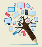 Gadget devices concept pencil tree Royalty Free Stock Images