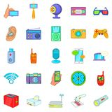 Gadget for entertainment icons set, cartoon style. Gadget for entertainment icons set. Cartoon set of 25 gadget for entertainment vector icons for web isolated Stock Photos