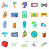Gadget for entertainment icons set, cartoon style Stock Photos