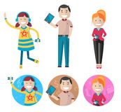Gadget Family. A vector illustration of father, mother and daughter with gadget Stock Photo