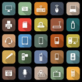 Gadget flat icons with long shadow Royalty Free Stock Photos