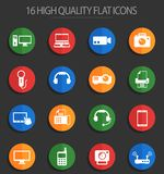 Gadget 16 flat icons. Gadget vector icons for web and user interface design stock illustration
