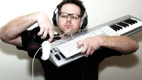 Gadget Geek with Electronic Gear stock footage