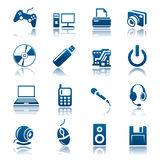 Gadget icon set. Set of blue gadget icons Royalty Free Stock Photos
