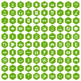 100 gadget icons hexagon green. 100 gadget icons set in green hexagon isolated vector illustration Stock Photo