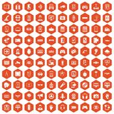 100 gadget icons hexagon orange. 100 gadget icons set in orange hexagon isolated vector illustration royalty free illustration