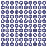 100 gadget icons hexagon purple. 100 gadget icons set in purple hexagon isolated vector illustration Royalty Free Stock Image