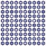 100 gadget icons hexagon purple. 100 gadget icons set in purple hexagon isolated vector illustration Stock Illustration