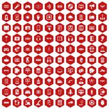 100 gadget icons hexagon red. 100 gadget icons set in red hexagon isolated vector illustration Royalty Free Stock Photos