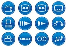 Gadget icons set. White - dark blue palette. Vector illustration Stock Photo