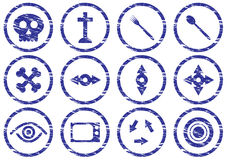 Gadget icons set. Grunge. White - dark blue palette. Vector illustration Royalty Free Stock Photo