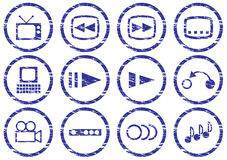 Gadget icons set. White - dark blue palette. Vector illustration Royalty Free Stock Photos