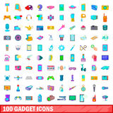 100 gadget icons set, cartoon style Royalty Free Stock Photography