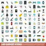 100 gadget icons set, flat style. 100 gadget icons set in flat style for any design vector illustration Royalty Free Stock Images