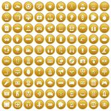 100 gadget icons set gold. 100 gadget icons set in gold circle isolated on white vectr illustration Royalty Free Stock Photography