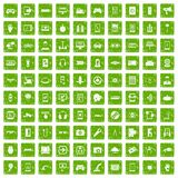 100 gadget icons set grunge green. 100 gadget icons set in grunge style green color isolated on white background vector illustration Stock Images