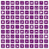 100 gadget icons set grunge purple. 100 gadget icons set in grunge style purple color isolated on white background vector illustration stock illustration