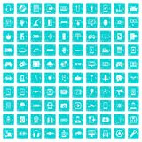 100 gadget icons set grunge blue. 100 gadget icons set in grunge style blue color isolated on white background vector illustration Royalty Free Stock Photos