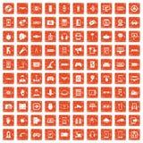100 gadget icons set grunge orange. 100 gadget icons set in grunge style orange color isolated on white background vector illustration Vector Illustration