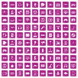 100 gadget icons set grunge pink. 100 gadget icons set in grunge style pink color isolated on white background vector illustration Royalty Free Stock Photography