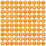 100 gadget icons set orange. 100 gadget icons set in orange circle isolated vector illustration Vector Illustration
