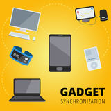 Gadget online synchronization vector concept design with pc, lap Royalty Free Stock Image