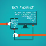 Gadget and pc data exchange vector concept in flat style Stock Images