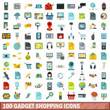 100 gadget shopping icons set, flat style. 100 gadget shopping icons set in flat style for any design vector illustration Stock Illustration