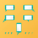 Gadget Vector smartphone empty speech bubbles yellow Royalty Free Stock Images