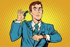 Gadget wrist watch phone. Pop art retro comic drawing illustration Royalty Free Stock Photos