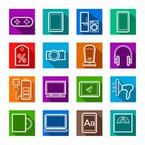 Gadgets, appliances, colored, flat outline icons. Royalty Free Stock Photos