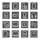 Gadgets, appliances, monochrome contour icons, gray. Stock Photography
