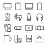 Gadgets, appliances, monochrome icons, outline. Royalty Free Stock Photography