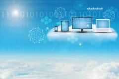 Gadgets in cloud sky Stock Photos