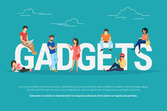 Gadgets concept illustration of young people using devices Royalty Free Stock Images
