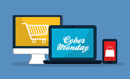 Gadgets and cyber monday design Stock Images